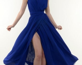 Long dress Chiffon Blue Dress Wrap Sleeveless Summer Dress.