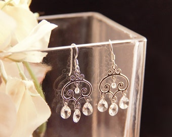 Sterling silver scrollwork and Swarovski crystal chandelier earrings [E20]