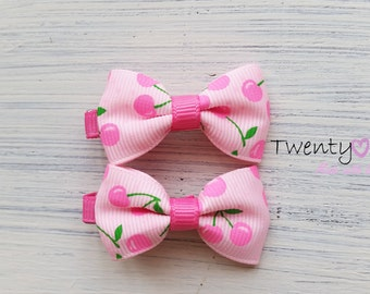 Hairclips baby,baby hair clips,baby hair bow clip,small hair clips,toddler,girl,baby hair accessory,cherry hair clips,hair clips baby girl