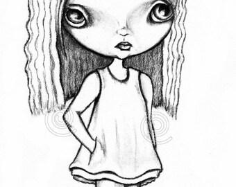 blythe doll big eye art digital stamp big hair bow big eyed doll instant download