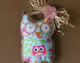 Pink and blue burlap owl