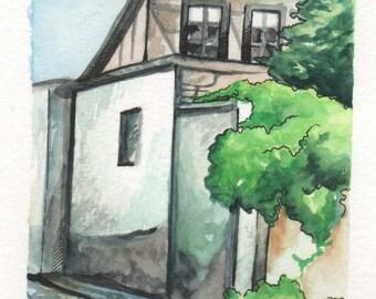 House in Bulgaria | 4x6 Original Watercolor