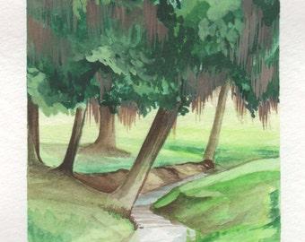 Hidden Creek   4x6 Original Watercolor