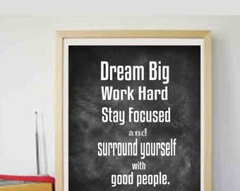 Motivational Printable Dream Big Printable Motivational Typography art Printable Art Home and Living Art - Instant Download  11x4'-8x10'