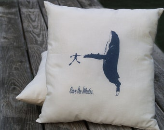 Hand Silkscreened Save the Whales Decorative Pillow