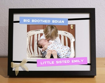big brother baby sister gift brother sister frame customized frame personalized gift big bro little sis little sister baby bro