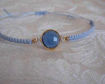 Blue Macrame Bracelet with Blue Stone