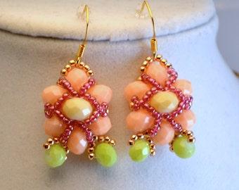 Peach Orange Floral Earrings