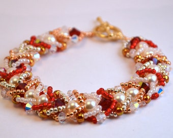 Red, Gold, and Pearl Crystal Beadwoven Bracelet