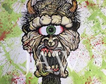Cyclops Horror Dark Art Print - 8x10 Print
