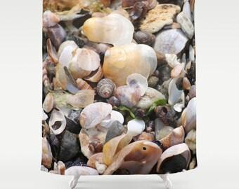 Shells, Shower Curtain, Beige,White,Sand,Ocean,Bath Curtain,Bathroom Decor,Accessories,Bathroom Art,Designer Shower Curtain,Interior Design