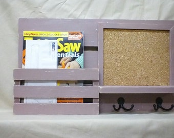 Distressed Message Board - Wood Cork Board - Magazine Holder - Mail Organizer - Wall Hanging - Mail Holder - Entry Way Organizer - #3