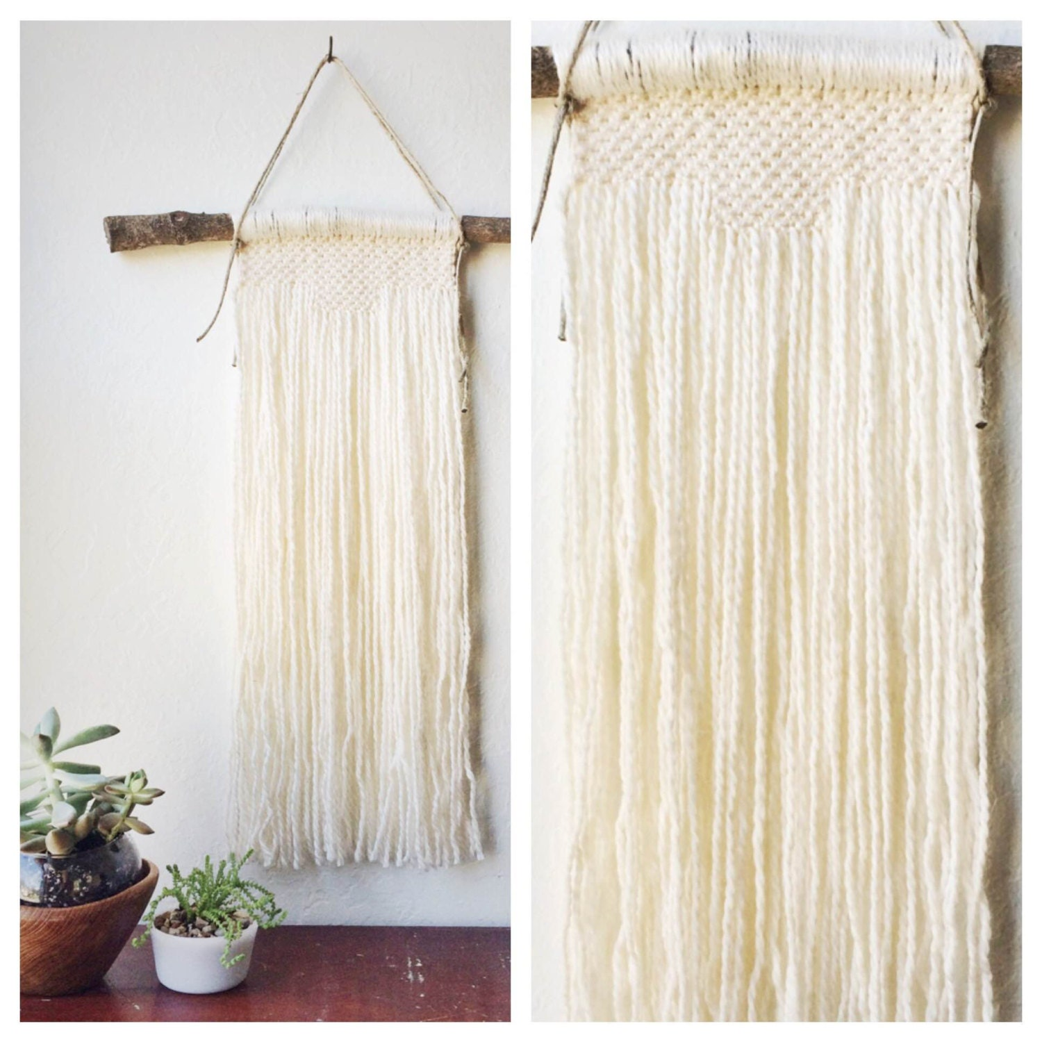 Southwest decor wall hangings : White macrame wall hanging southwest decor by