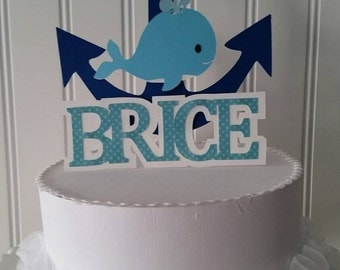 Boy Blue Whale Cake Topper, Whale Party, Boy Whale Baby Shower, Blue Whale Birthday Party, Blue Whale First Birthday, Whale Ocean Party
