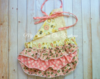 Bubble Romper- Baby Girl Romper- Bumble Bee Romper- Sun suit- Bee Romper- Girl's Ruffle romper- Romper- Baby Girl- Girl clothing- Girl short