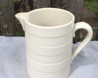 Small banded french creamware jug