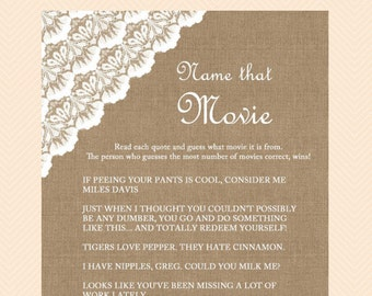 Movie Quotes, Name that movie, Famous movie quotes, Burlap, Lace, Shabby Baby Shower Games Printables, Instant Download, Neutral TLC11