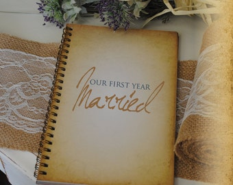 Journal Romance Love - Our First Year Married Custom Personalized Journals Vintage Style Book