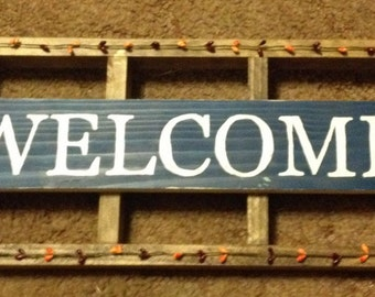 "24"" x 9"" Primitive Ladder Welcome Sign"