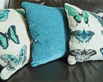 Linen and chenille butterfly cushion in turquoise blue, pillow cover