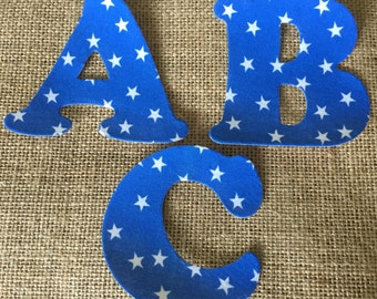 Blue Stars Fabric Iron on Letters- appliqué