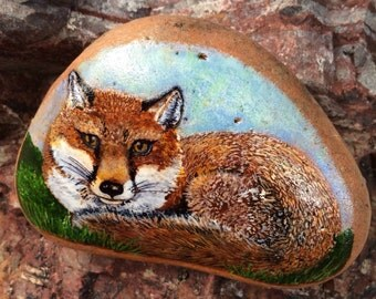 A clever Red Fox Handpainted on stone