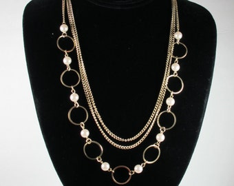 Three Layer Necklace, Long Necklace, Gold Necklace