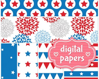 July 4th printable digital paper backgrounds and patterns for personal and commercial use - High Resolution 300 DPI