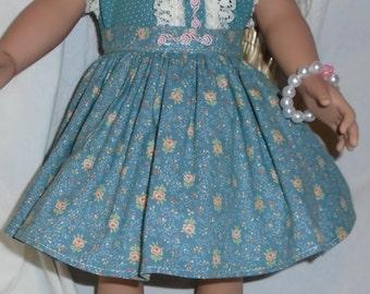 "Handmade Skirt and Blouse with Handmade Bracelet for 18"" Soft Bodied Dolls Like American Girl"