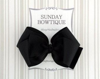 Black Hair Bow, Black Hairbow, Blalck Boutique Bow, Black Hair Clip, Halloween Hair Bow, School Uniform Bow, School Hair Bow, Bow