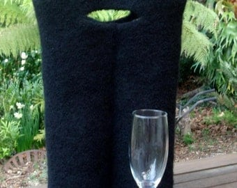 Double BYO Felted Wine Bottle Tote / Bag