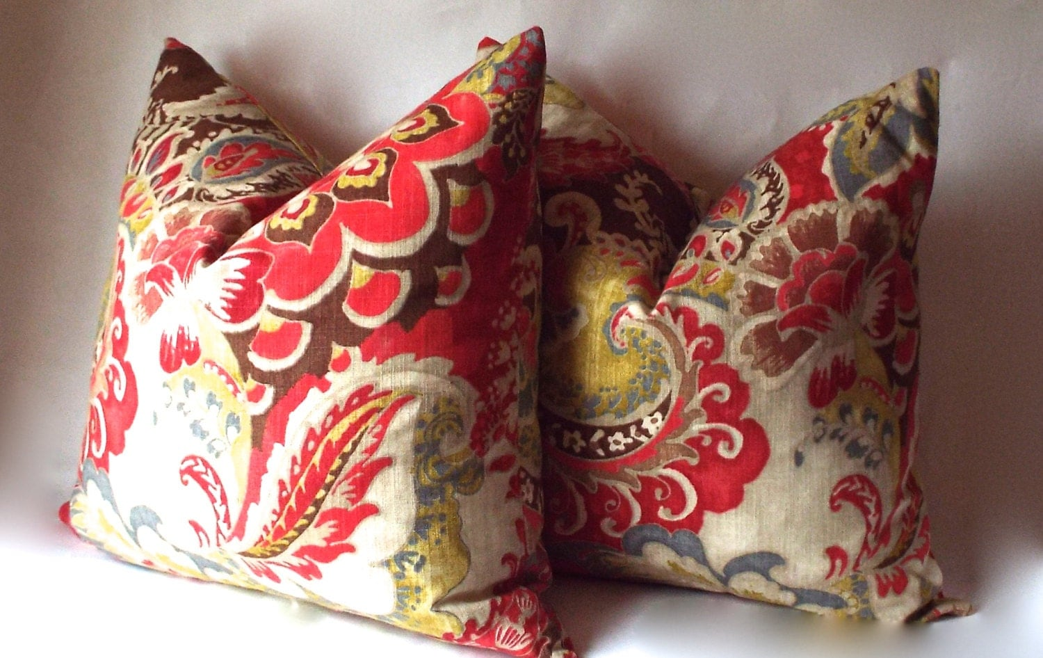 Red Throw Pillow Cover with Brown and Gold Decorative Throw