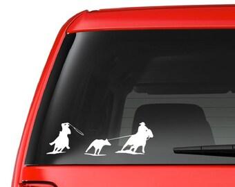 Team Roping (W4) Vinyl Decal Sticker Car/Truck Laptop/Netbook Window