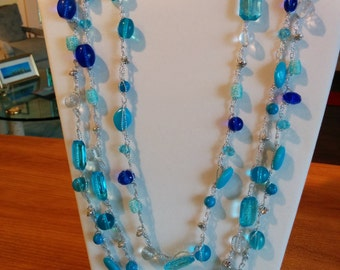 Blue Beaded Crocheted Necklace