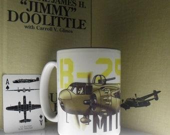 World War 2 B-25 Mitchell mug white 12-oz mug for military history buff