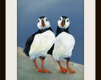 Puffins Standing Painting with Acrylics Art Print, Sea and Bird related art,  Archival Inks and Matted, available in 5x7, 8x10, 11x14