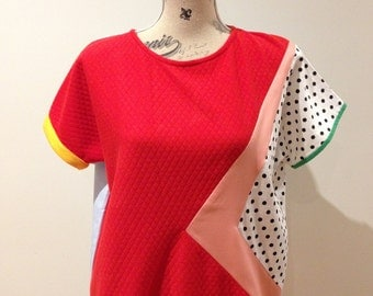 Colorful asymmetrical casual top