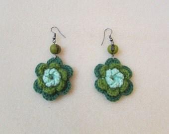 Green Earrings, Flower Earrings, Crochet Earrings, Eco Friendly Earrings, Knitted jewelry, Seeds Earrings, Dangling Earrings, Knit Earrings