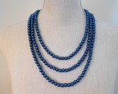 Multi strand navy blue glass beads, great for mum jewelry necklace, daughter gift, sister, for her, for wife, cheap costume statement