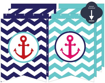 Nautical Banner, Printable Bunting (Sailing Party Banner, Nautical Party Banner, DIY Children's Bunting, Anchor Banner, Instant Download)
