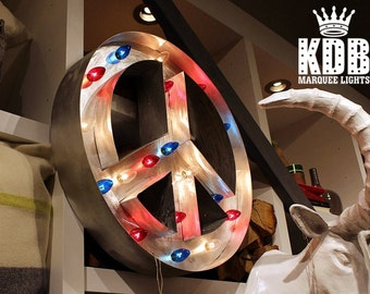 "Lighted Peace Sign Marquee Sign - 24"" Diameter"