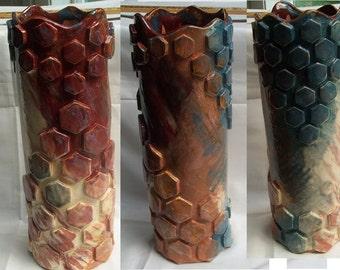Geometric Pattern Vase - Hexagons