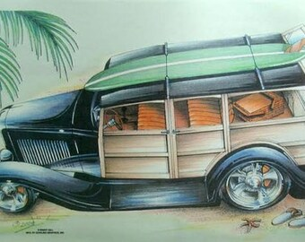 Woody Car With A Tree Embroidery Design