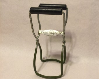 Vintage EarthGrown Canning Tongs - Jar Lifter - With Olive Green Grips and Black Plastic Handles