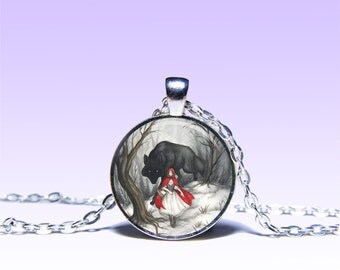 Art Vintage Red Riding Hood Pendant Book NECKLACE Wolf Jewelery Charm Pendant for Him or Her