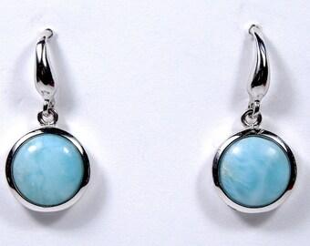 10mm Genuine Blue AAA Larimar Inlay 925 Sterling Silver Dangling Post Earrings