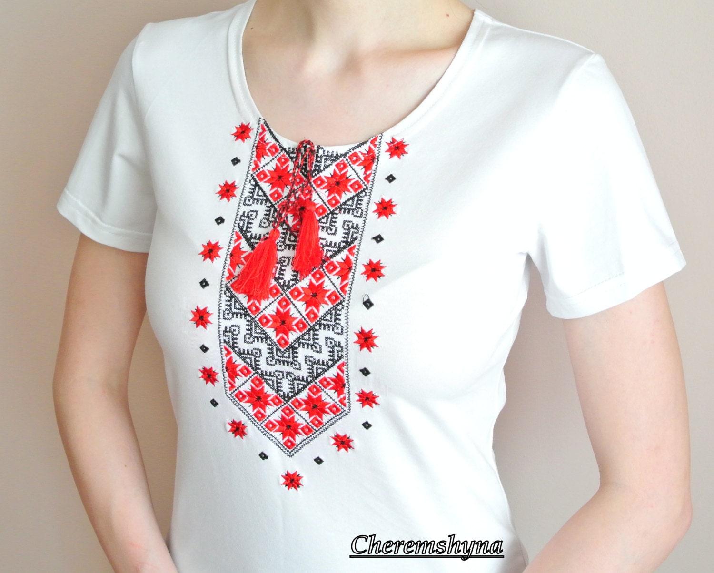 Boho tshirt vyshyvanka shirt ukrainian embroidered t