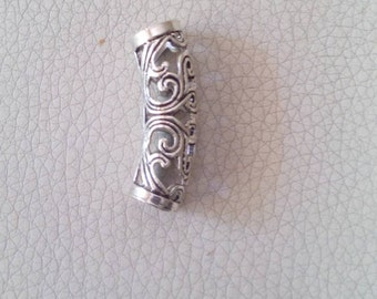 Silver plated alloy metal dreadlock bead, tube dreadlock bead, Tibetan dread bead, hair jewelry.