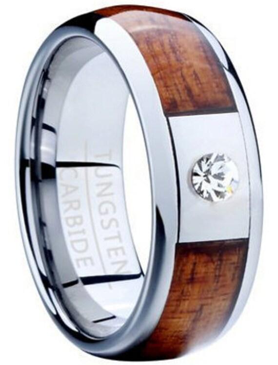 Hawaiian Koa Wood Tungsten Ring Koa Wood Ring Cz By