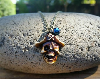 Dead Pirate Skull Necklace, Caribbean Necklace, Pirate Jewelry, Dead Pirate Necklace, Skull Necklace, Men's Necklace, Antique Skull Jewellry